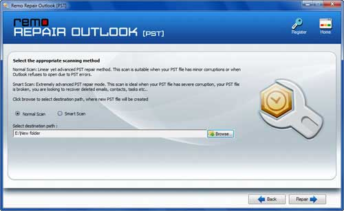 Recover Outlook Folders - Select Scan Method